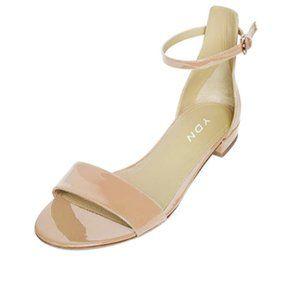 YDN Nude Block Low Heel Sandals Ankle Strap